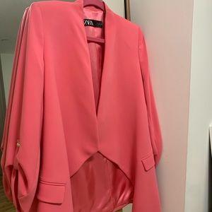 Pink Zara blazer small with pockets